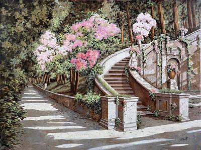 La Scalinata E I Fiori Rosa Art Print by Guido Borelli