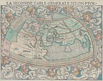 Photograph - La Seconde Table Generale Selon Ptol Map By Sebastian Munster 15 by Rick Bures