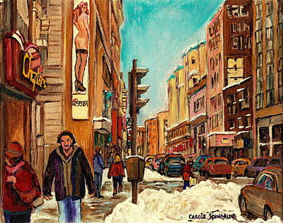 Montreal Winterscenes Painting - La Senza St Catherine Street Downtown Montreal by Carole Spandau