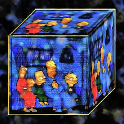 Digital Art - La Simpson Cube by Mario Carini