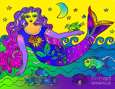 Drawing - La Sirena Morado by Lydia L Kramer