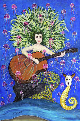 Painting - La Sirena Y Su Guitarra Marina  Mermaid With Her Marine Guitar by Sandra Rincon
