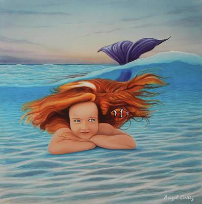 Painting - La Sirenita by Angel Ortiz