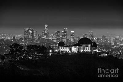 Photograph - L.a. Skyline B/w Griffith Observatory by David Zanzinger