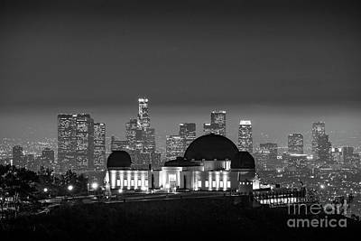 Photograph - L.a. Skyline Bw Night Glow by David Zanzinger