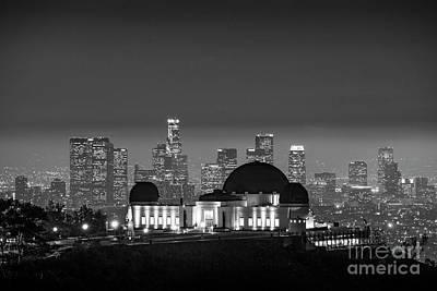 Photograph - L.a. Skyline Bw Night Glow by David Zanzinger