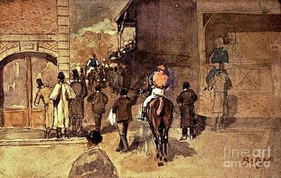 Theft Painting - La Sortie De Pesage, Digitally Enhanced,  Degas by digitally enhanced by Thomas Pollart