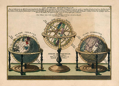 Drawings Royalty Free Images - La Sphere Artificielle - Illustration of the Globe - Celestial and Terrestrial Globes - Astrolabe Royalty-Free Image by Studio Grafiikka