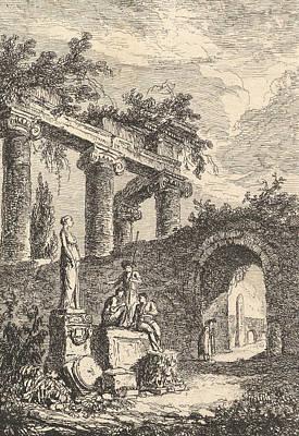 Relief - La Statue En Avant Les Ruines by Hubert Robert