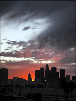 Los Angeles Skyline Photograph - La Storm Clears by Kevin  Break