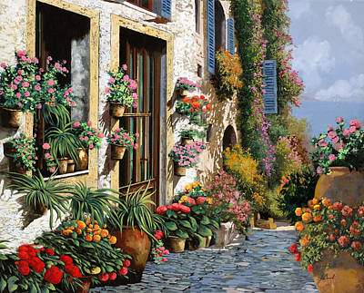 Vase Wall Art - Painting - La Strada Del Lago by Guido Borelli