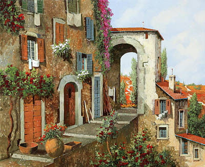 Steps Painting - La Stradina Tra I Campi Rossi by Guido Borelli