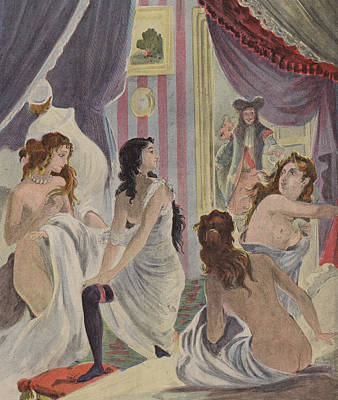 Concubine. Harem Girl Painting - La Surprise Des Demoiselles D'honneur by French School