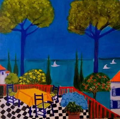 Painting - La Terasse En St Tropez by Rusty Gladdish