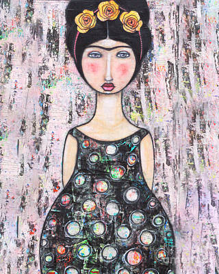 Art Print featuring the mixed media La-tina by Natalie Briney