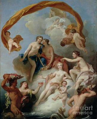 Goddess Mythology Painting - La Toilette De Venus by Francois Lemoyne