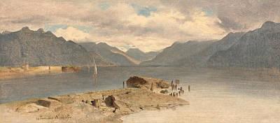 Alexandre Calame Painting - La Tour. Lake Geneva by Alexandre Calame