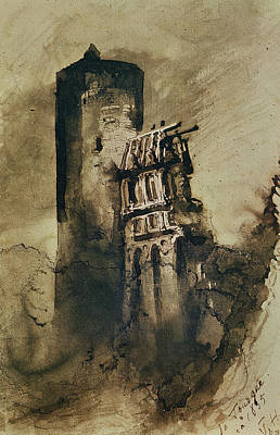 Castles Drawing - La Tourgue In 1835 by Victor Hugo