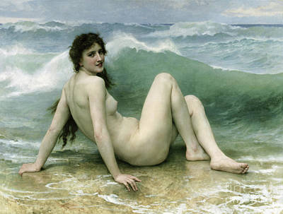 Beautiful Beach Painting - La Vague by William Adolphe Bouguereau