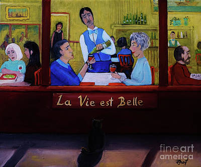 Montreal Restaurants Painting - La Vie Est Belle by Reb Frost