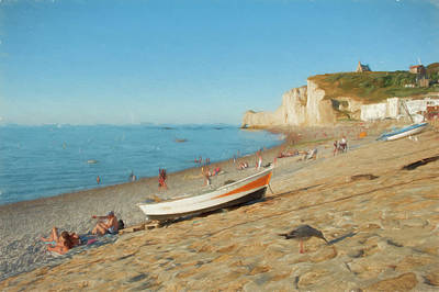 Digital Art - Plage A Etretat - France by Jean-Pierre Ducondi