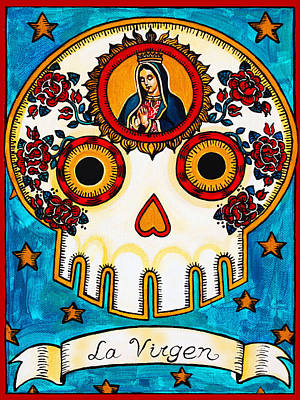 Calavera Painting - La Virgen - The Virgin by Mix Luera