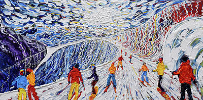 Snowboarding Painting - La Vizelle Courchevel by Pete Caswell