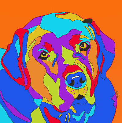 Dog Jewelry Painting - Lab Abstract by Patti Siehien
