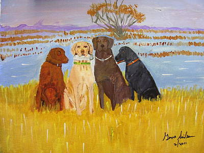 Lab Dogs Art Print