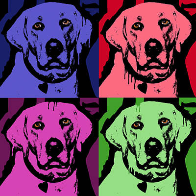 Colorful Dog Painting - Lab Face by Dean Russo