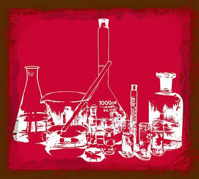 Labs Digital Art - Lab Glass Red by Daniel Hagerman