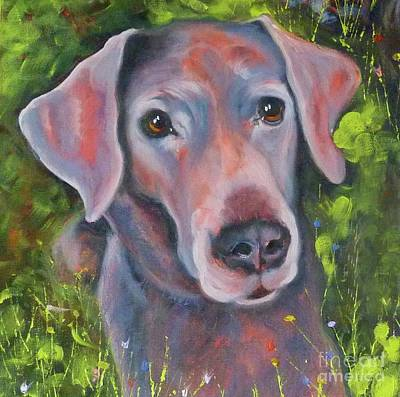 Painting - Lab In The Grass by Susan A Becker