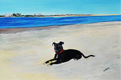 Dog Playing Ball Painting - Lab Loving The Beach by Donna Mann
