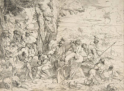Relief - Laban Searching For Idols Among Jacob's Possessions by Giovanni Benedetto Castiglione