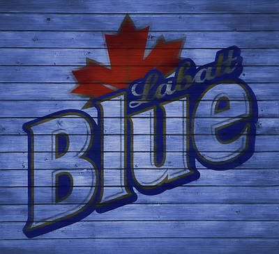 Mixed Media - Labatt Blue Barn Door by Dan Sproul