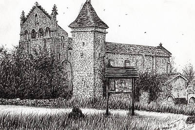 Pen Drawing - L'abbeye Blassimon by Vincent Alexander Booth