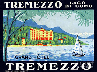 Lake Como Drawing - Label For The Grand Hotel Tremezzo, Lake Como by Mary Evans Picture Library