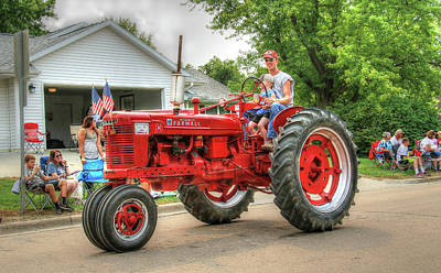 Photograph - Labor Day Parade On A 1950 Farmall H by J Laughlin