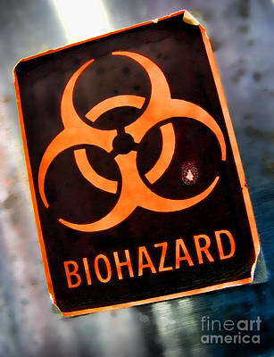 Photograph - Laboratory Biohazard Danger Warning Label by Olivier Le Queinec