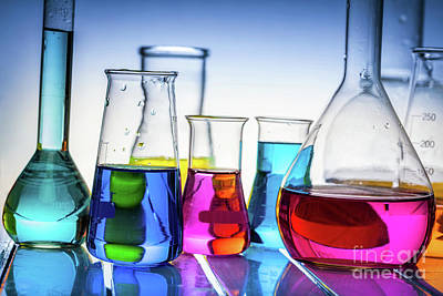 Fluid Photograph - Laboratory Glass Filled With Chemical Liquids. by Michal Bednarek