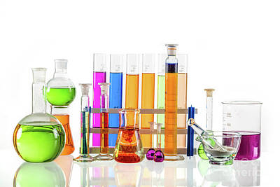 Photograph - Laboratory Glass Set Filled With Colorful Substances. by Michal Bednarek