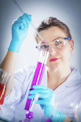 Knowledge Photograph - Laboratory Scientist Measures Chemical Liquid. by Michal Bednarek
