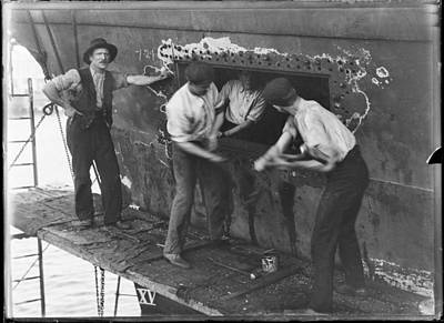 Painting - Labourers Working On Hull Of Ship, Hobart Wharves , Tasmania C1900s by Celestial Images