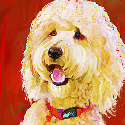 Dogs Painting - Labradoodle 2 by Jackie Jacobson