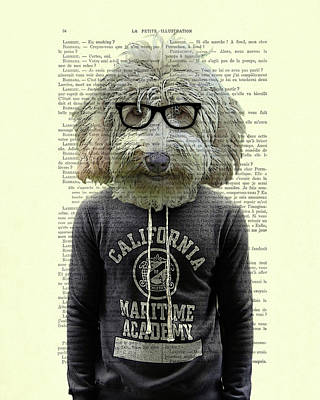 Golden Doodle Digital Art - Labradoodle Dog Portrait Art by Madame Memento
