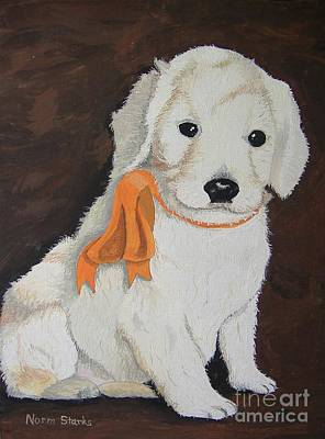 Painting - Labradoodle Pet Portrait by Norm Starks