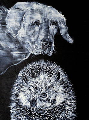Painting - Labrador And Hedgehog by Fabrizio Cassetta