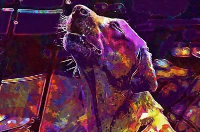 Labrador Digital Art - Labrador Dog Sweet Howl Yelp  by PixBreak Art