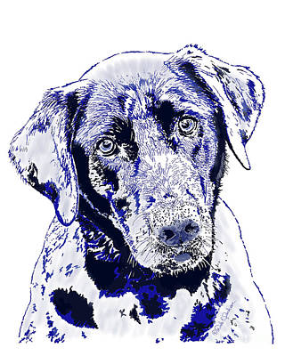 Digital Art - Labrador Dog With The Blues I by Dale E Jackson