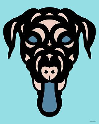 Labrador Dorianna - Dog Design - Island Paradise, Pale Dogwood,  Niagara Blue Art Print by Manuel Sueess